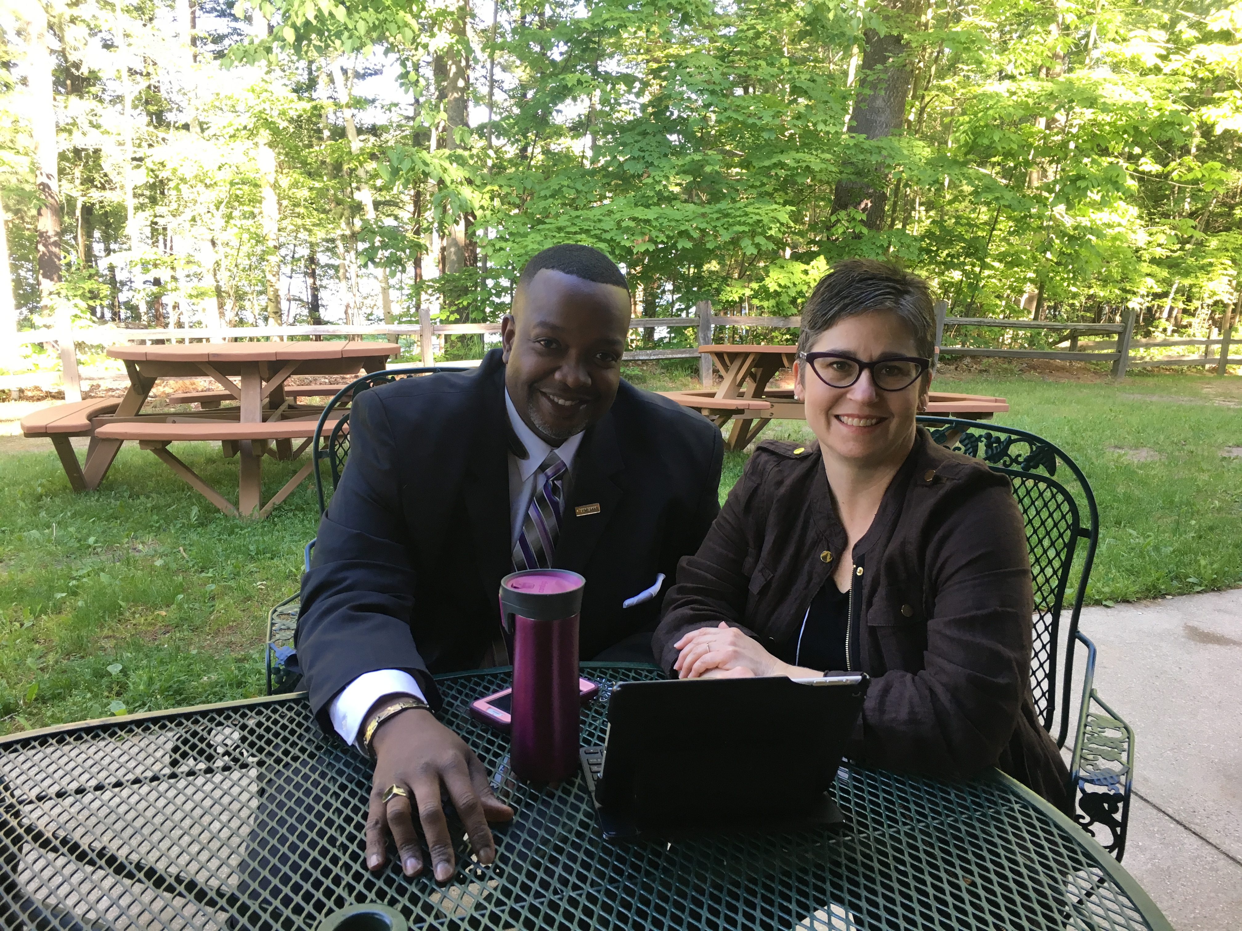 Funding Panelist Jason Paulateer (left) and lead trainer Kirsten Elliott (right) collaborating on the last day of Boot Camp at the Kettunen Center in Tustin, MI.