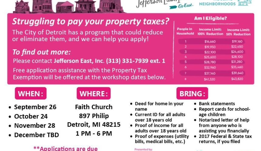 CEDAM member Jefferson East, Inc. Helps Detroiters Save on Property Taxes