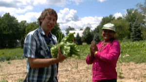Devi grows and sells local food in Lansing. She is a refugee. Video